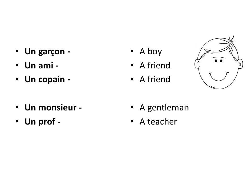 Un garçon - Un ami - Un copain - Un monsieur - Un prof - A boy A friend A gentleman A teacher