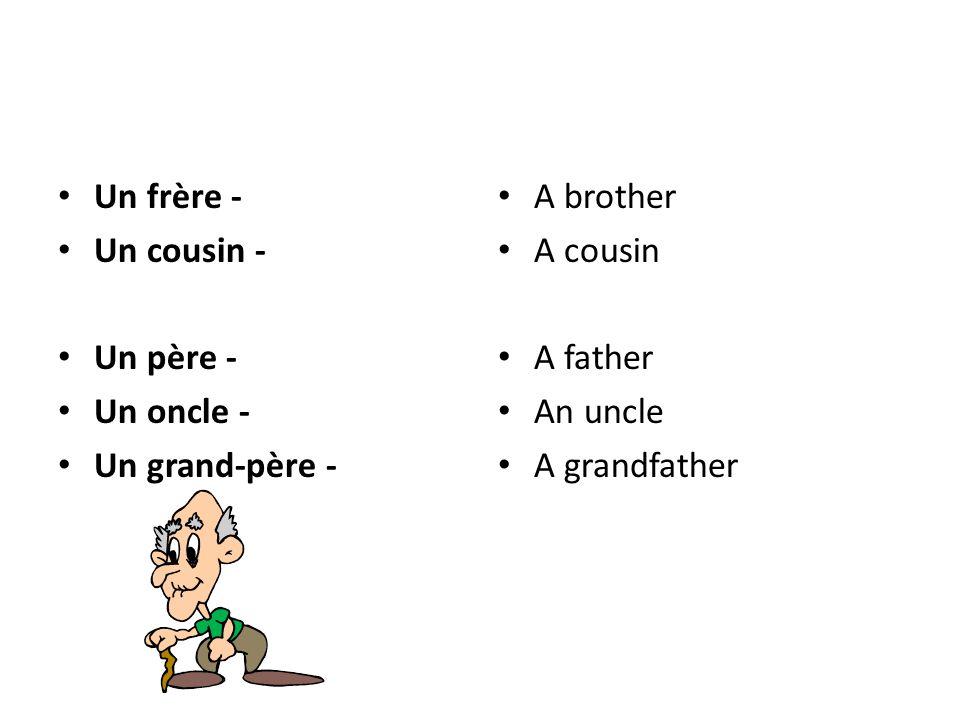 Un frère - Un cousin - Un père - Un oncle - Un grand-père - A brother A cousin A father An uncle A grandfather