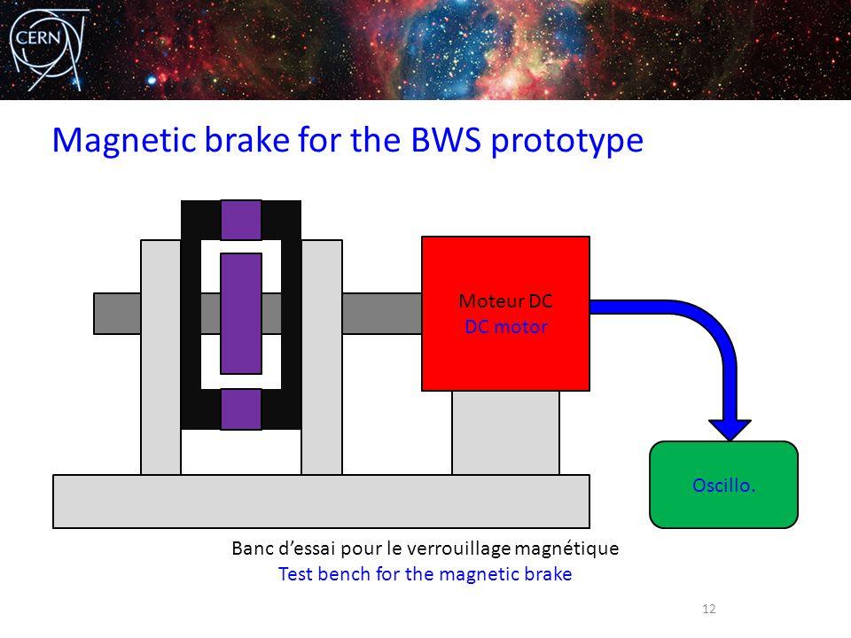 Magnetic brake for the BWS prototype 12 Moteur DC DC motor Oscillo. Banc d'essai pour le verrouillage magnétique Test bench for the magnetic brake