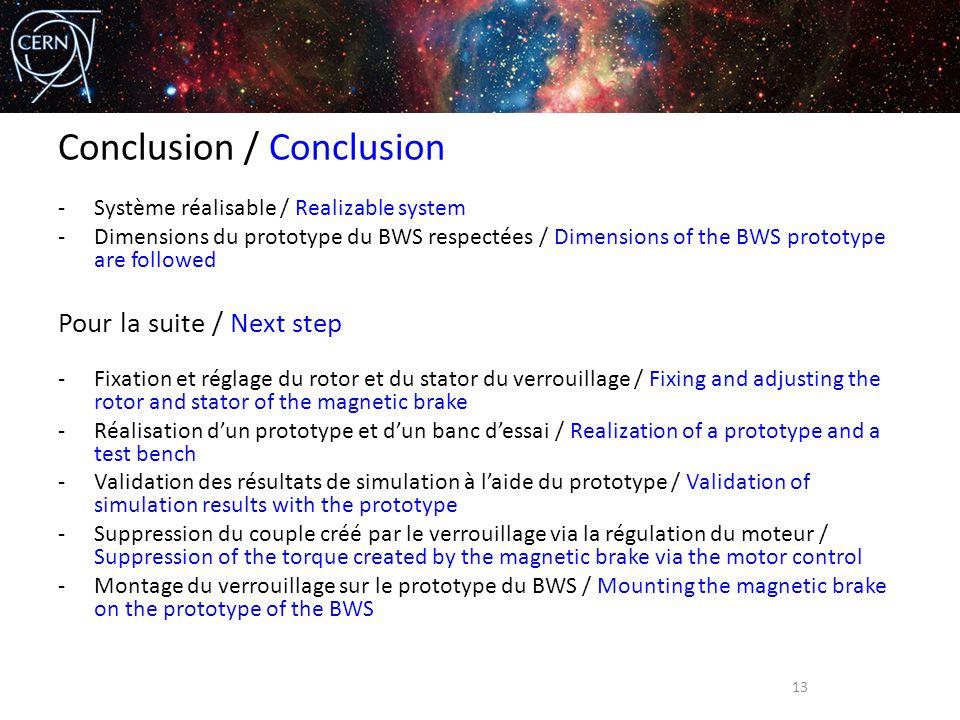 Conclusion / Conclusion -Système réalisable / Realizable system -Dimensions du prototype du BWS respectées / Dimensions of the BWS prototype are follo