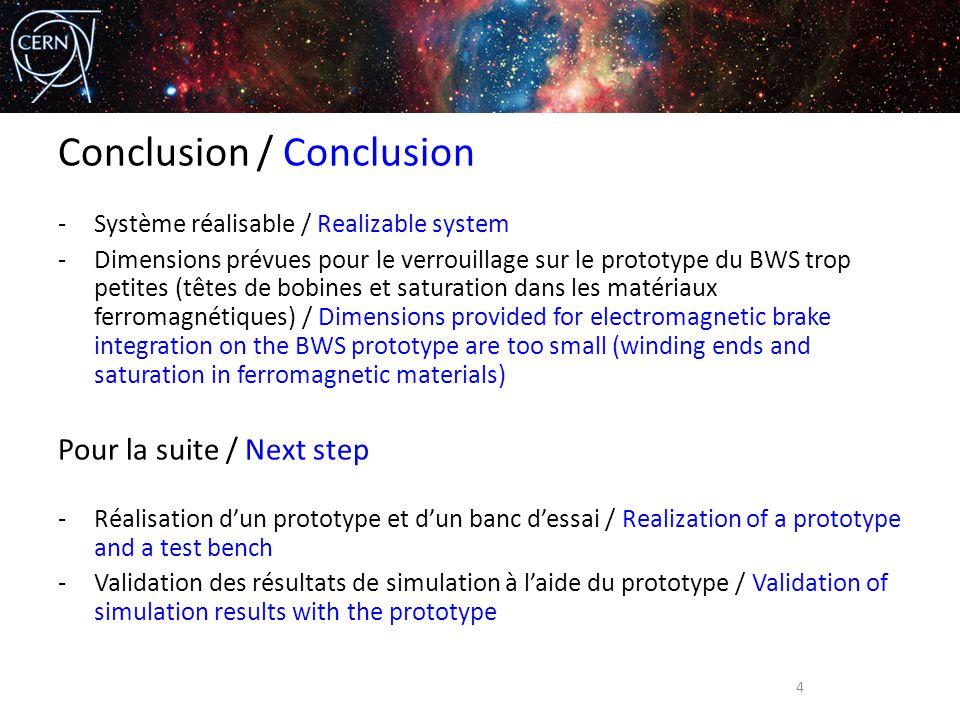 Conclusion / Conclusion -Système réalisable / Realizable system -Dimensions prévues pour le verrouillage sur le prototype du BWS trop petites (têtes d
