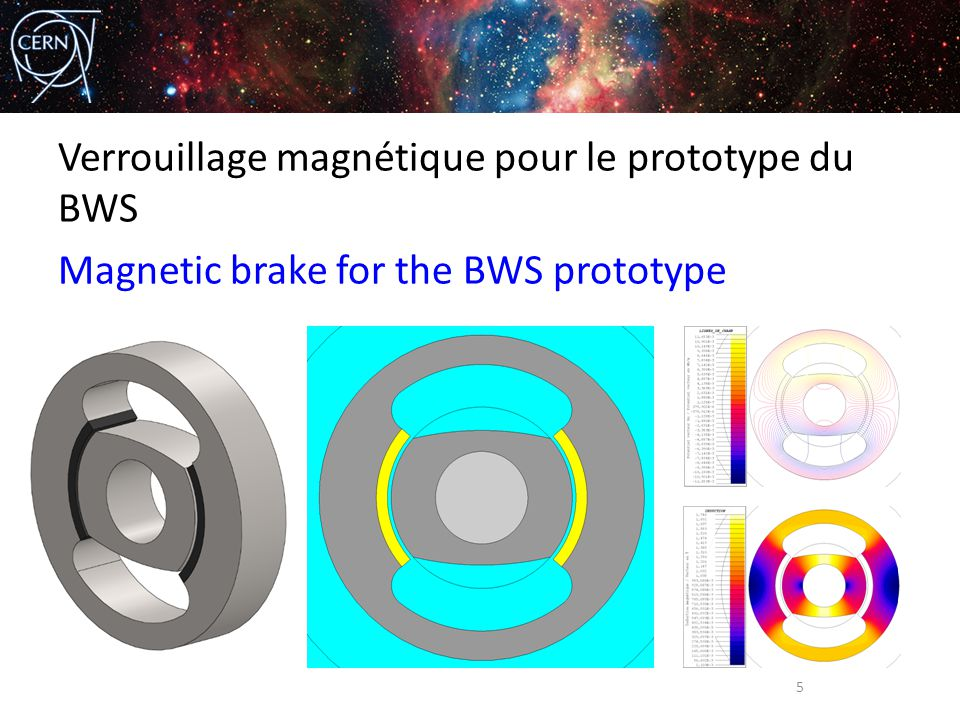 Verrouillage magnétique pour le prototype du BWS Magnetic brake for the BWS prototype 5