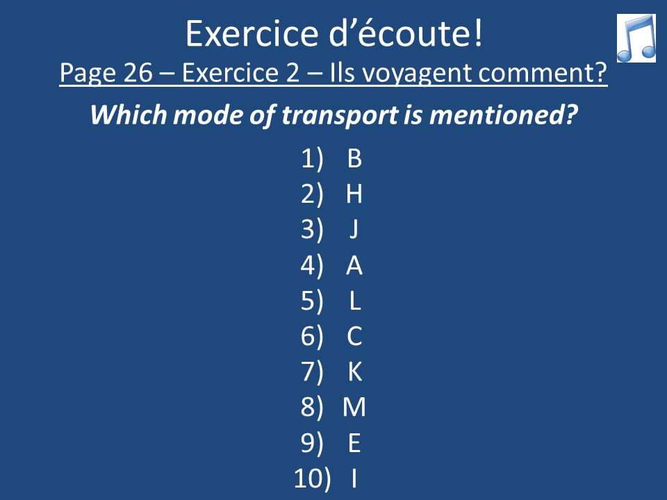 Exercice d'écoute. Page 26 – Exercice 2 – Ils voyagent comment.