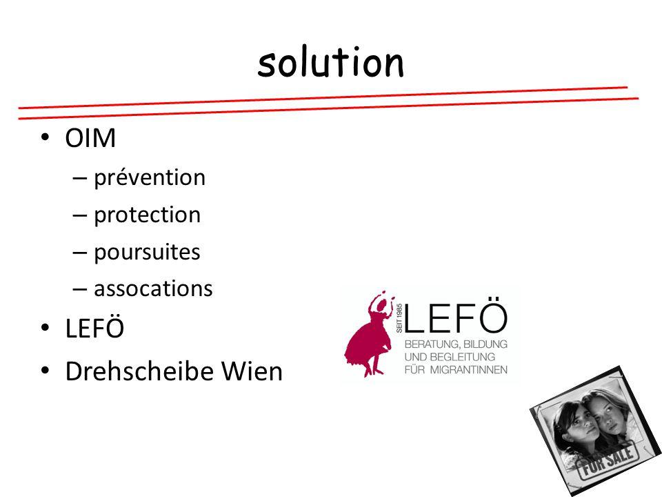 solution OIM – prévention – protection – poursuites – assocations LEFÖ Drehscheibe Wien