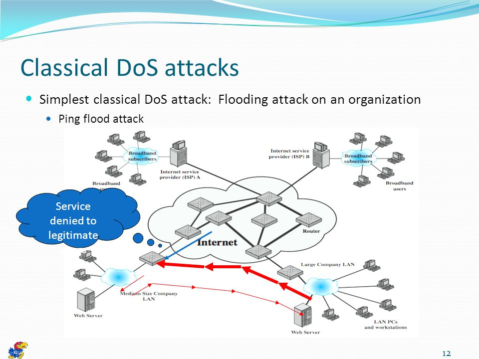 Classical DoS attacks Simplest classical DoS attack: Flooding attack on an organization Ping flood attack 12 Service denied to legitimate users