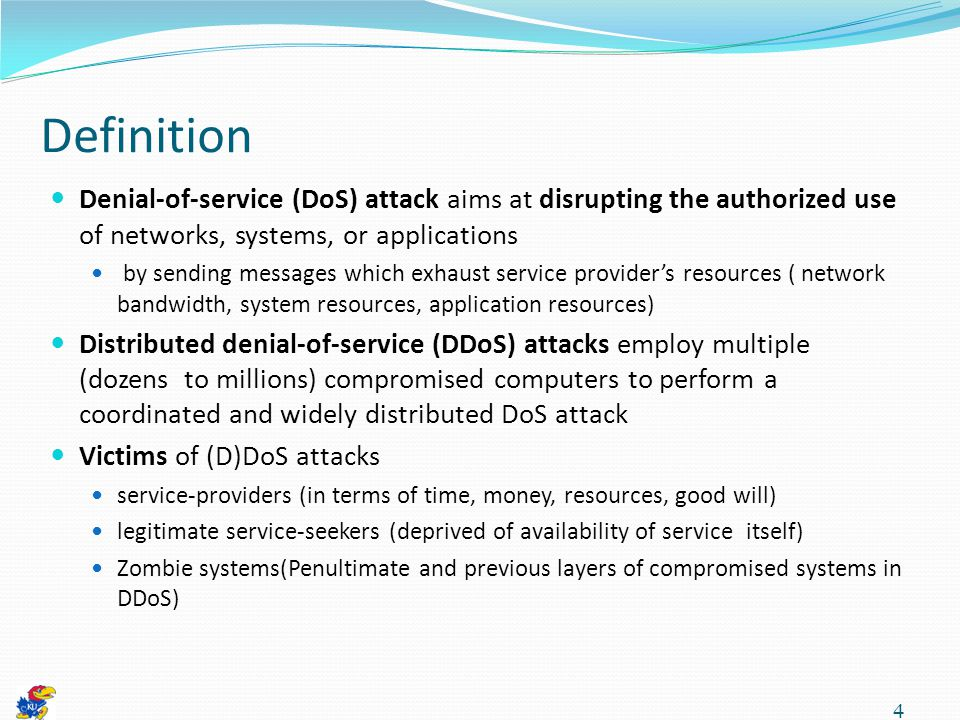 45 Drawbacks of direct command control If one machine is captured, the whole DDoS network could be identified Any anomalous event on network monitor could be easily spotted Both handlers and agents need to be ready always to receive messages Opening ports and listening to them Easily caught Source: Mirkovic, J., Dietrich, S., Dittrich, D., & Reiher, P.
