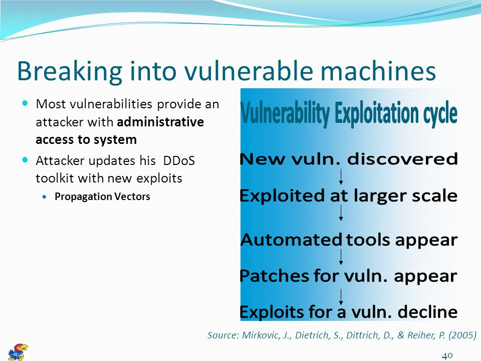 40 Breaking into vulnerable machines Most vulnerabilities provide an attacker with administrative access to system Attacker updates his DDoS toolkit with new exploits Propagation Vectors Source: Mirkovic, J., Dietrich, S., Dittrich, D., & Reiher, P.