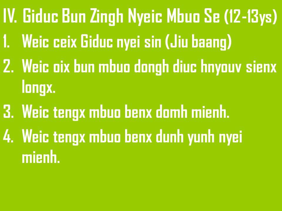 IV. Giduc Bun Zingh Nyeic Mbuo Se (12-13ys) 1.Weic ceix Giduc nyei sin (Jiu baang) 2.Weic oix bun mbuo dongh diuc hnyouv sienx longx. 3.Weic tengx mbu