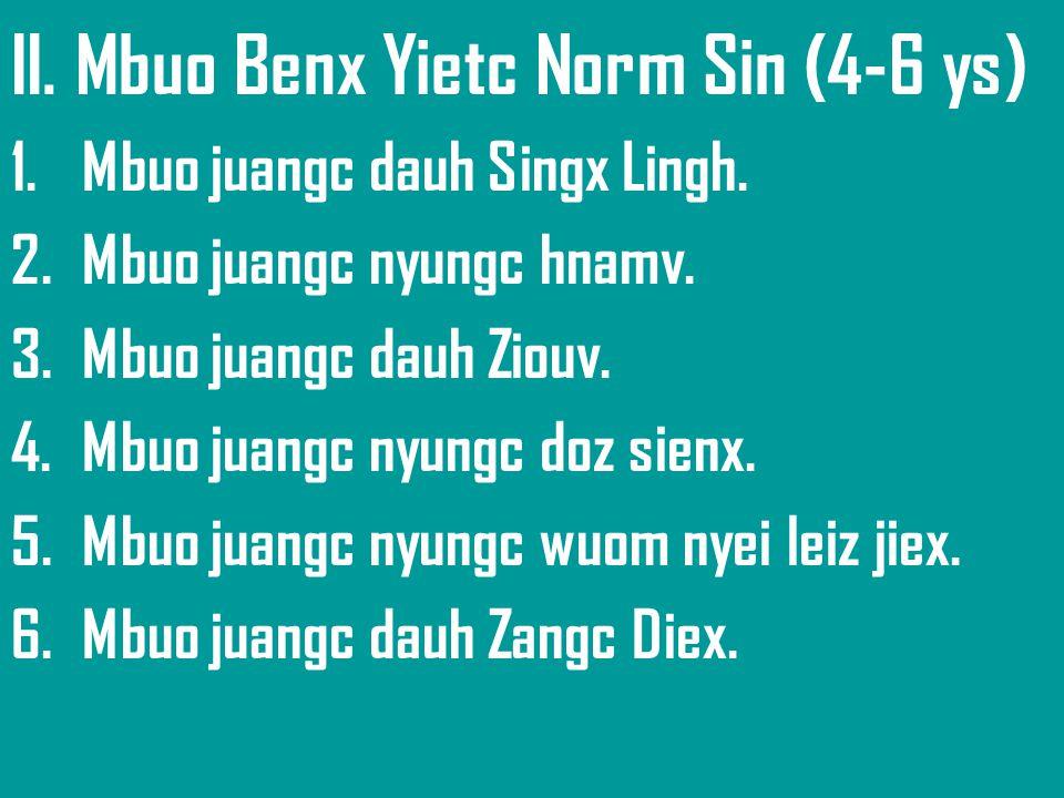 II. Mbuo Benx Yietc Norm Sin (4-6 ys) 1.Mbuo juangc dauh Singx Lingh. 2.Mbuo juangc nyungc hnamv. 3.Mbuo juangc dauh Ziouv. 4.Mbuo juangc nyungc doz s