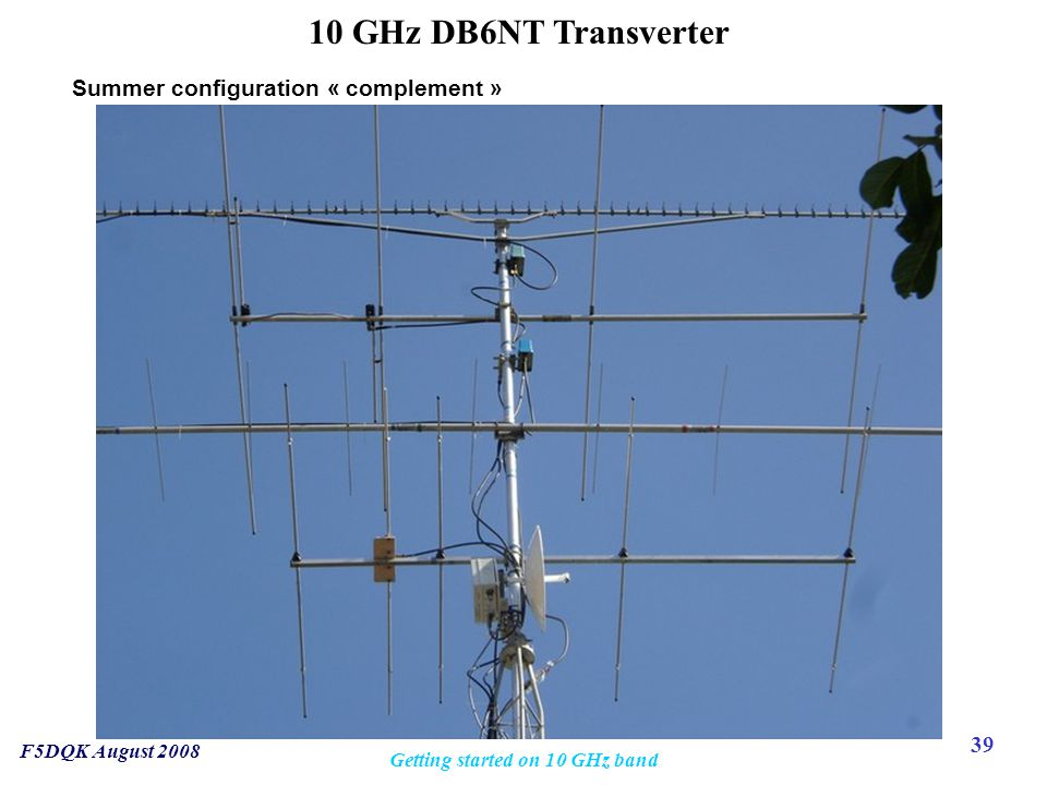 39 F5DQK August 2008 Getting started on 10 GHz band 10 GHz DB6NT Transverter Summer configuration « complement »