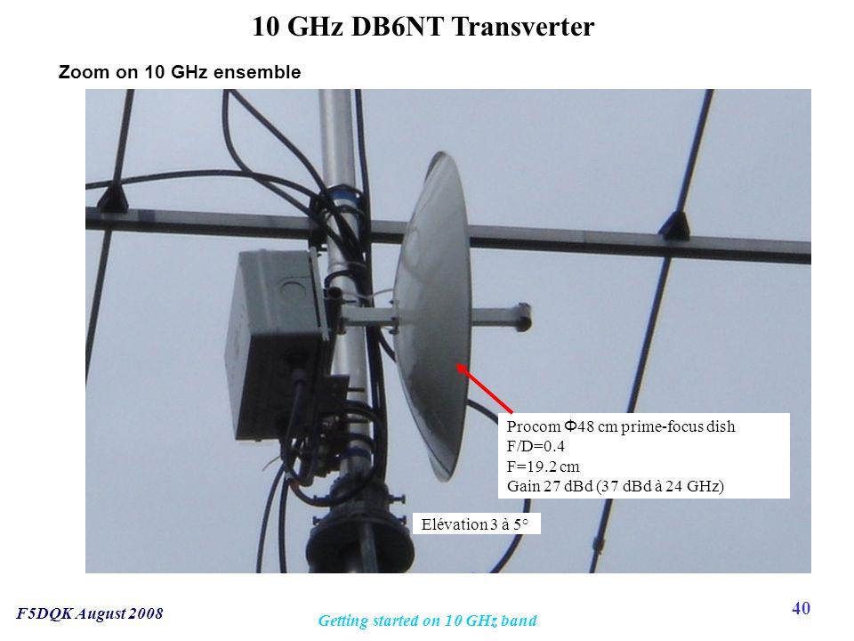 40 F5DQK August 2008 Getting started on 10 GHz band 10 GHz DB6NT Transverter Procom Φ 48 cm prime-focus dish F/D=0.4 F=19.2 cm Gain 27 dBd (37 dBd à 24 GHz) Elévation 3 à 5° Zoom on 10 GHz ensemble