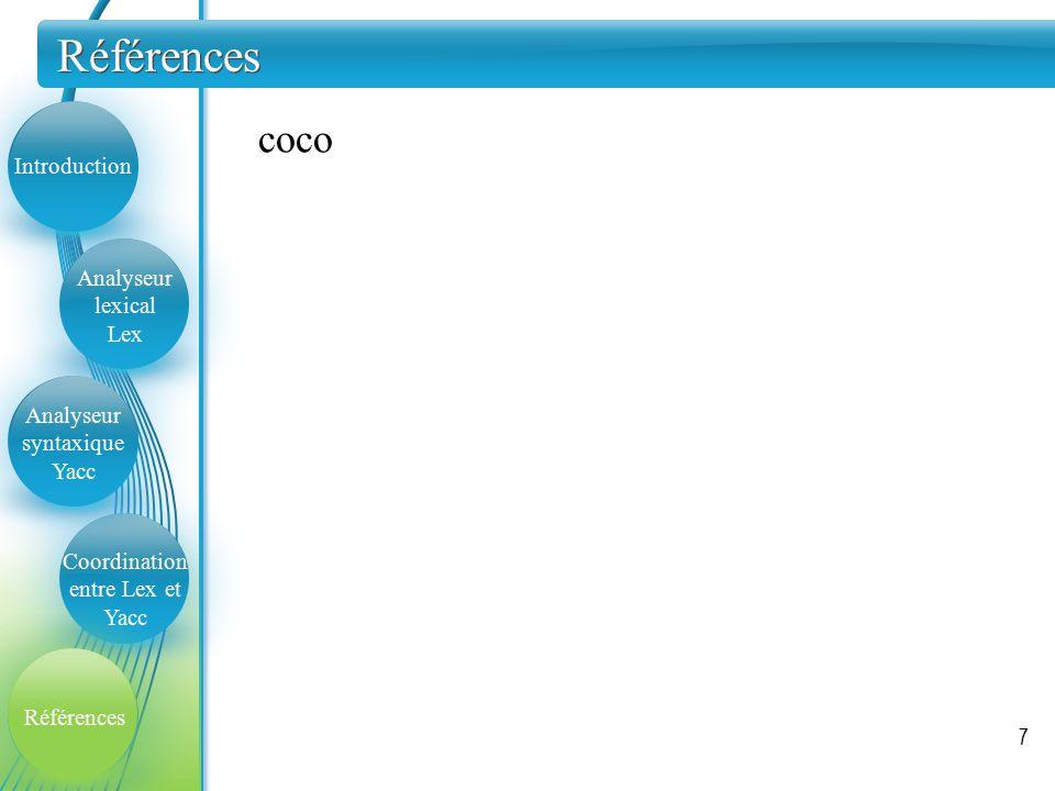 Références 7 Introduction Analyseur lexical Lex Analyseur syntaxique Yacc Coordination entre Lex et Yacc Références coco