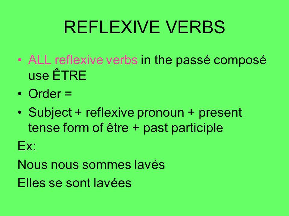 REFLEXIVE VERBS ALL reflexive verbs in the passé composé use ÊTRE Order = Subject + reflexive pronoun + present tense form of être + past participle Ex: Nous nous sommes lavés Elles se sont lavées
