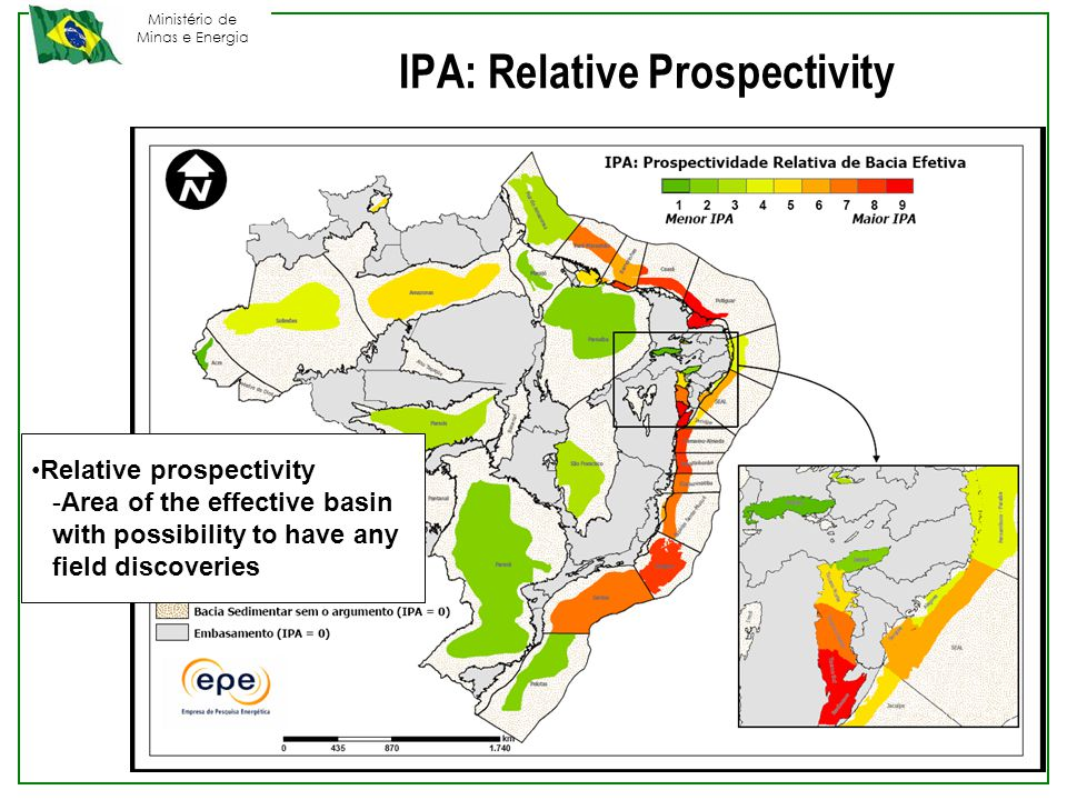 Ministério de Minas e Energia Relative prospectivity -Area of the effective basin with possibility to have any field discoveries IPA: Relative Prospectivity