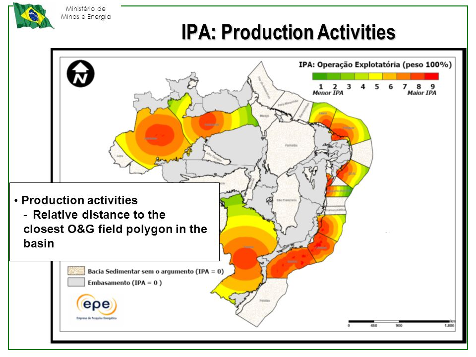 Ministério de Minas e Energia Production activities -Relative distance to the closest O&G field polygon in the basin IPA: Production Activities