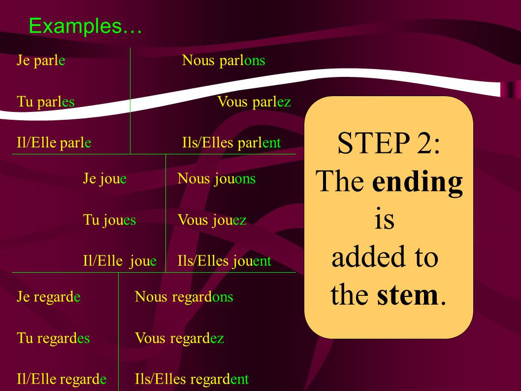 9 Step 2: Add the new endings STEM + New Verb ending Je danse Tu danses Il/Elle danse Nousdansons Vousdansez Ils/Ellesdansent