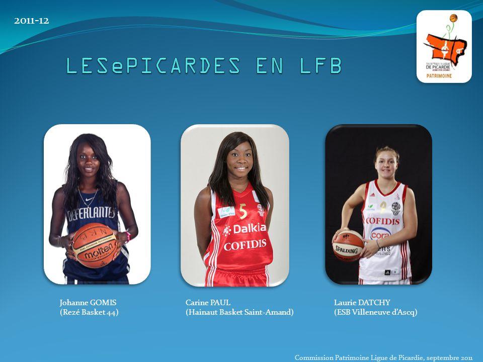 2011-12 Johanne GOMIS (Rezé Basket 44) Carine PAUL (Hainaut Basket Saint-Amand) Laurie DATCHY (ESB Villeneuve d'Ascq) Commission Patrimoine Ligue de P