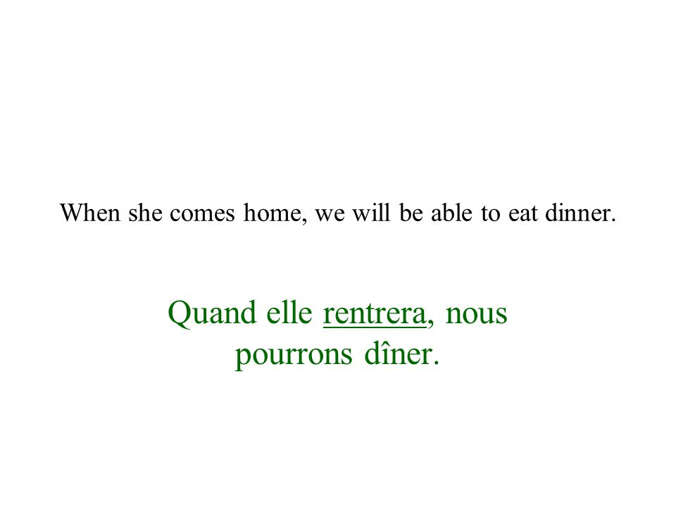 When she comes home, we will be able to eat dinner. Quand elle rentrera, nous pourrons dîner.
