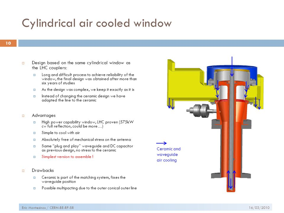 Cylindrical air cooled window  Design based on the same cylindrical window as the LHC couplers:  Long and difficult process to achieve reliability of the window, the final design was obtained after more than six years of studies  As the design was complex, we keep it exactly as it is  Instead of changing the ceramic design we have adapted the line to the ceramic  Advantages  High power capability window, LHC proven (575kW cw full reflection, could be more…)  Simple to cool with air  Absolutely free of mechanical stress on the antenna  Same plug and play waveguide and DC capacitor as previous design, no stress to the ceramic  Simplest version to assemble .