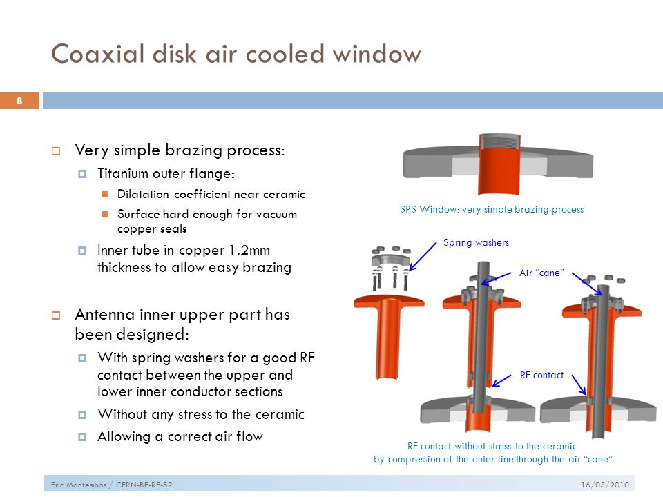 Coaxial disk air cooled window  Very simple brazing process:  Titanium outer flange: Dilatation coefficient near ceramic Surface hard enough for vacuum copper seals  Inner tube in copper 1.2mm thickness to allow easy brazing  Antenna inner upper part has been designed:  With spring washers for a good RF contact between the upper and lower inner conductor sections  Without any stress to the ceramic  Allowing a correct air flow 16/03/2010 8 Eric Montesinos / CERN-BE-RF-SR Spring washers RF contact SPS Window: very simple brazing process RF contact without stress to the ceramic by compression of the outer line through the air cane Air cane