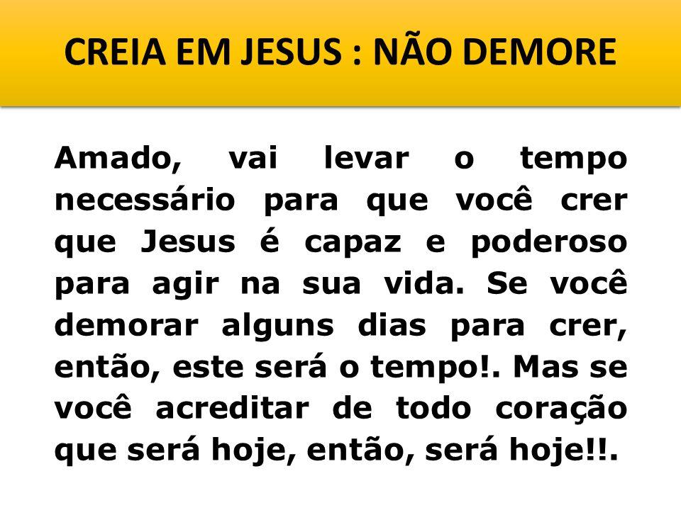 CREIA EM JESUS : NÃO DEMORE Amado, vai levar o tempo necessário para que você crer que Jesus é capaz e poderoso para agir na sua vida.