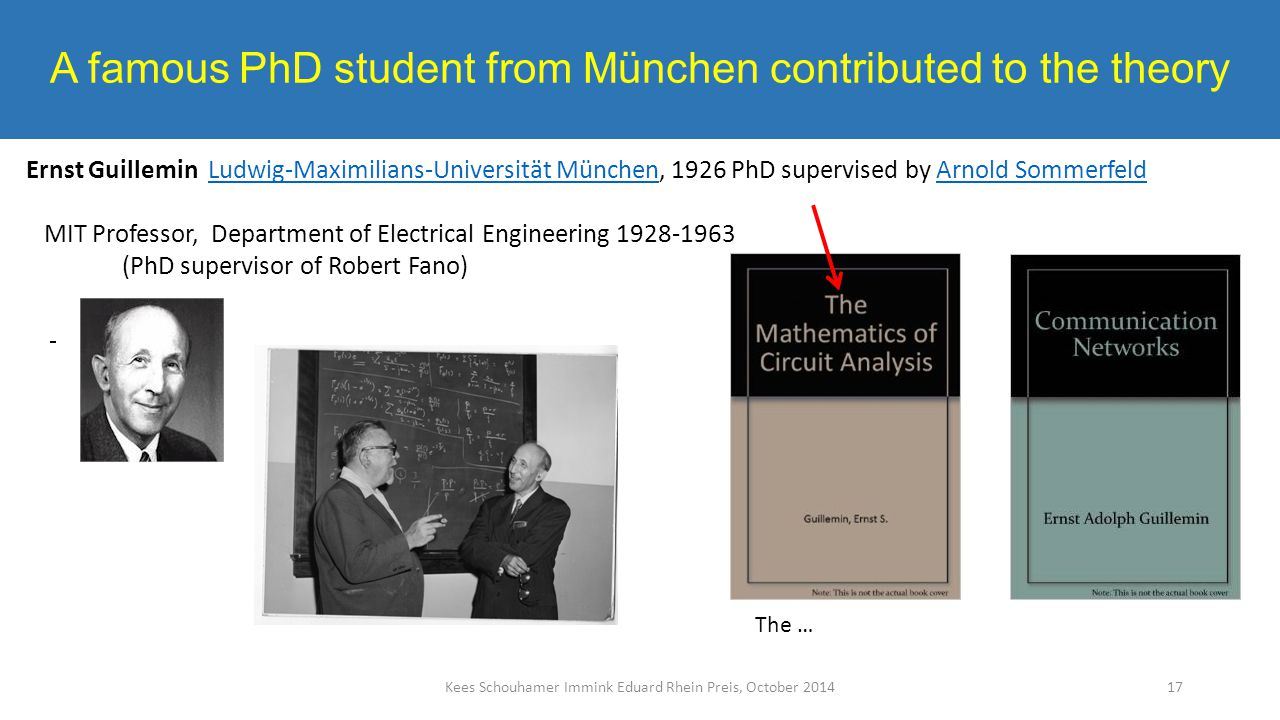 A famous PhD student from München contributed to the theory Kees Schouhamer Immink Eduard Rhein Preis, October 2014 Ernst Guillemin Ludwig-Maximilians-Universität München, 1926 PhD supervised by Arnold SommerfeldLudwig-Maximilians-Universität MünchenArnold Sommerfeld MIT Professor, Department of Electrical Engineering 1928-1963 (PhD supervisor of Robert Fano) 17 The …