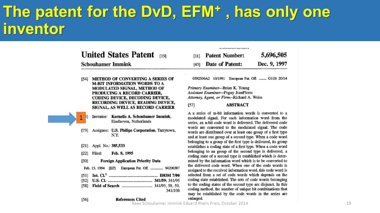 The patent for the DvD, EFM +, has only one inventor Kees Schouhamer Immink Eduard Rhein Preis, October 201419 1