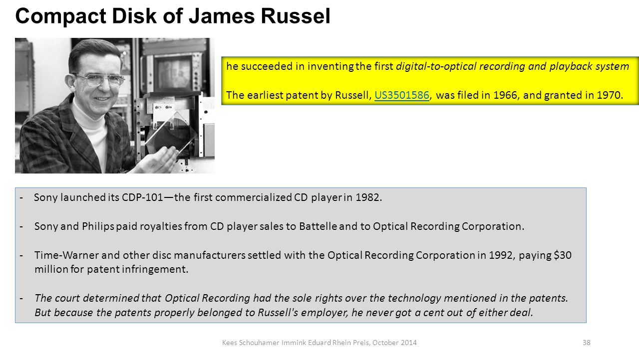 Kees Schouhamer Immink Eduard Rhein Preis, October 201438 Compact Disk of James Russel - Sony launched its CDP-101—the first commercialized CD player in 1982.