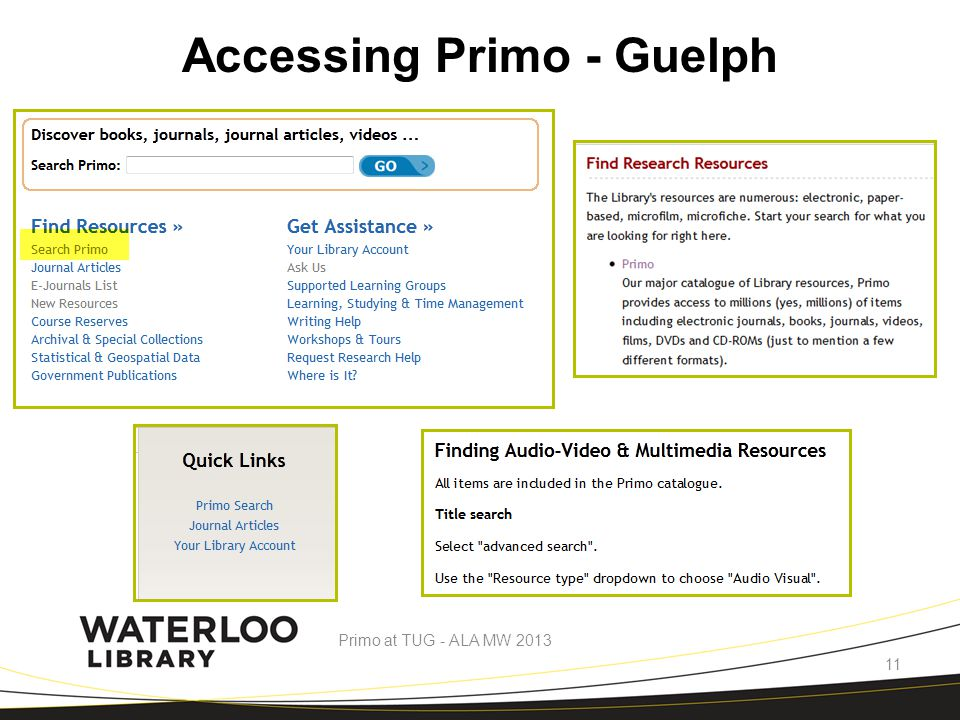 Accessing Primo - Guelph Primo at TUG - ALA MW 2013 11