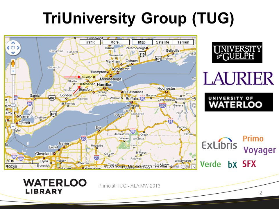 Waterloo (2011)Guelph (2011)Laurier (2012) # of Undergrad Students 28,20018,29615,132 Library employee FTE 12295.456 ACQ Budget7.5 Million (2012)6.8 Million3.4 Million Quick Statistics Primo at TUG - ALA MW 2013 3