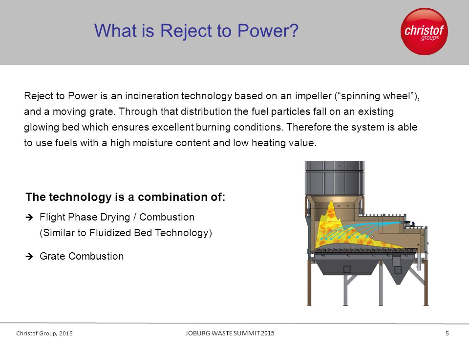 16 Christof Group, 2015 JOBURG WASTE SUMMIT 2015 References 16 Saica Containerboard PartingtonStartup: 2012 Fuel Heat Capacity: 22 MW Fuel: rejects and paper fibers from cardboard mill MM Karton HirschwangStartup: 2005 Fuel Heat Capacity: 4,8 MW Fuel: rejects, wood and bio sludge RBB BöblingenStartup: 2008 Fuel Heat Capacity: 6,0 MW Fuel: screening residues from wood chip fabrication