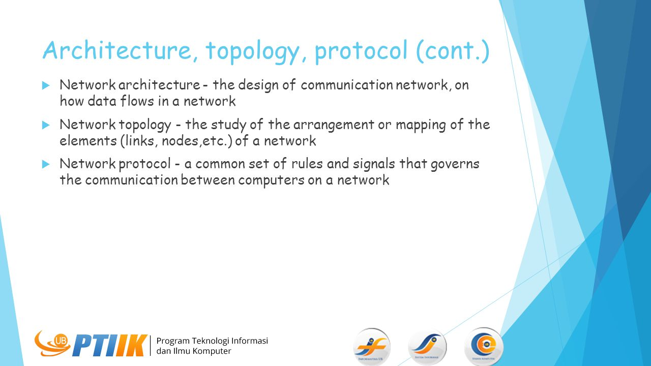 Architecture, topology, protocol (cont.)  Network architecture - the design of communication network, on how data flows in a network  Network topolo