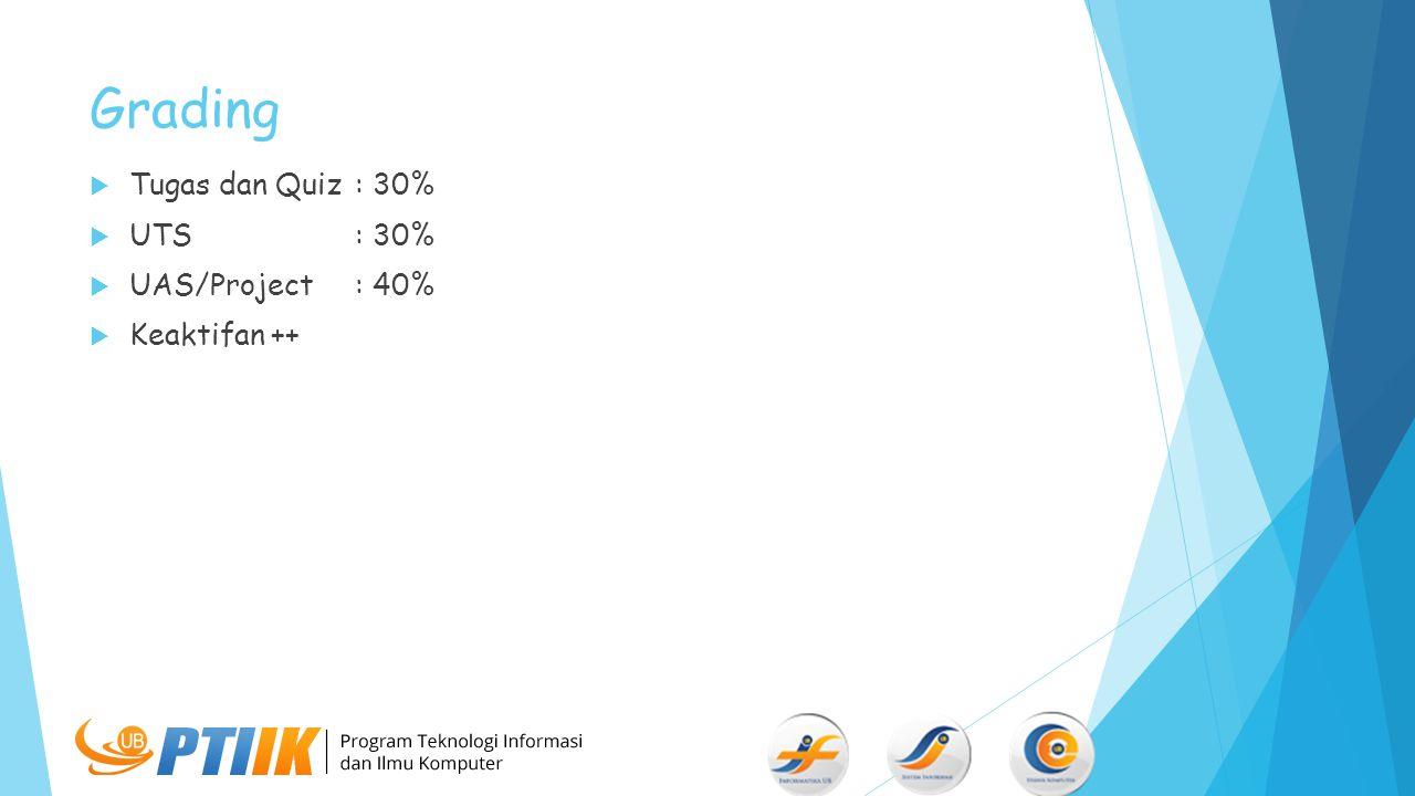 Grading  Tugas dan Quiz: 30%  UTS: 30%  UAS/Project: 40%  Keaktifan ++
