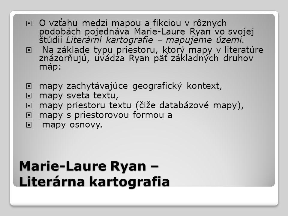 Marie-Laure Ryan – Literárna kartografia  O vzťahu medzi mapou a fikciou v rôznych podobách pojednáva Marie-Laure Ryan vo svojej štúdii Literární kartografie – mapujeme území.