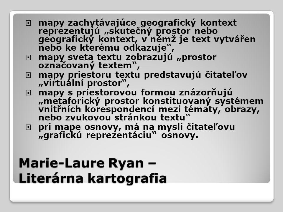 """Marie-Laure Ryan – Literárna kartografia  mapy zachytávajúce geografický kontext reprezentujú """"skutečný prostor nebo geografický kontext, v němž je text vytvářen nebo ke kterému odkazuje ,  mapy sveta textu zobrazujú """"prostor označovaný textem ,  mapy priestoru textu predstavujú čitateľov """"virtuální prostor ,  mapy s priestorovou formou znázorňujú """"metaforický prostor konstituovaný systémem vnitřních korespondencí mezi tématy, obrazy, nebo zvukovou stránkou textu  pri mape osnovy, má na mysli čitateľovu """"grafickú reprezentáciu osnovy."""