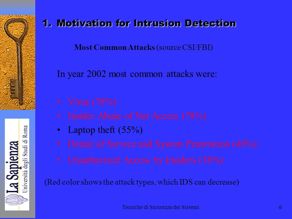 Tecniche di Sicurezza dei Sistemi7 Definitions Intrusion –A set of actions aimed to compromise the security goals, namely Integrity, confidentiality, or availability, of a computing and networking resource Intrusion detection –The process of identifying and responding to intrusion activities