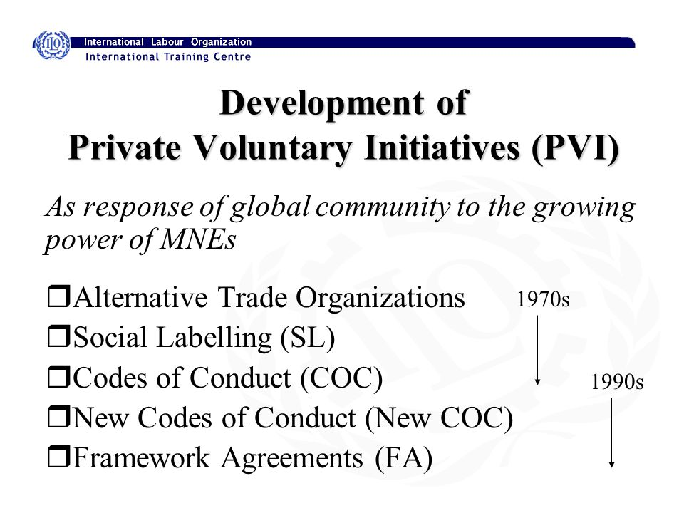 Development of Private Voluntary Initiatives (PVI) As response of global community to the growing power of MNEs rAlternative Trade Organizations rSocial Labelling (SL) rCodes of Conduct (COC) rNew Codes of Conduct (New COC) rFramework Agreements (FA) 1970s 1990s