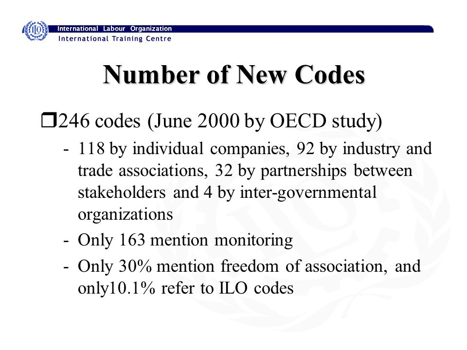 Number of New Codes r246 codes (June 2000 by OECD study) -118 by individual companies, 92 by industry and trade associations, 32 by partnerships between stakeholders and 4 by inter-governmental organizations -Only 163 mention monitoring -Only 30% mention freedom of association, and only10.1% refer to ILO codes