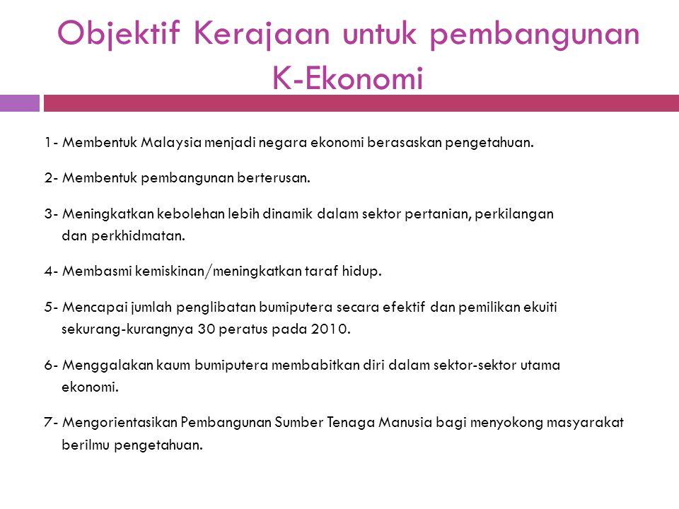 Objektif Kerajaan untuk pembangunan K-Ekonomi 1- Membentuk Malaysia menjadi negara ekonomi berasaskan pengetahuan. 2- Membentuk pembangunan berterusan
