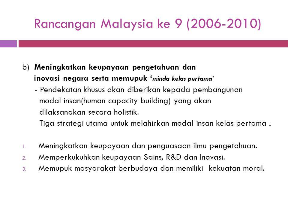 Rancangan Malaysia ke 9 (2006-2010) b) Meningkatkan keupayaan pengetahuan dan inovasi negara serta memupuk ' minda kelas pertama' - Pendekatan khusus
