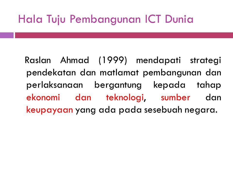 Hala Tuju Pembangunan ICT Dunia Raslan Ahmad (1999) mendapati strategi pendekatan dan matlamat pembangunan dan perlaksanaan bergantung kepada tahap ek