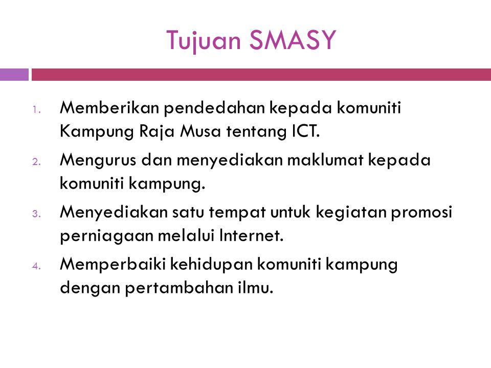 Tujuan SMASY 1. Memberikan pendedahan kepada komuniti Kampung Raja Musa tentang ICT. 2. Mengurus dan menyediakan maklumat kepada komuniti kampung. 3.