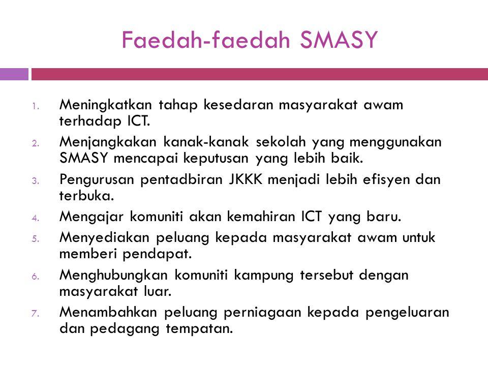 Faedah-faedah SMASY 1. Meningkatkan tahap kesedaran masyarakat awam terhadap ICT. 2. Menjangkakan kanak-kanak sekolah yang menggunakan SMASY mencapai