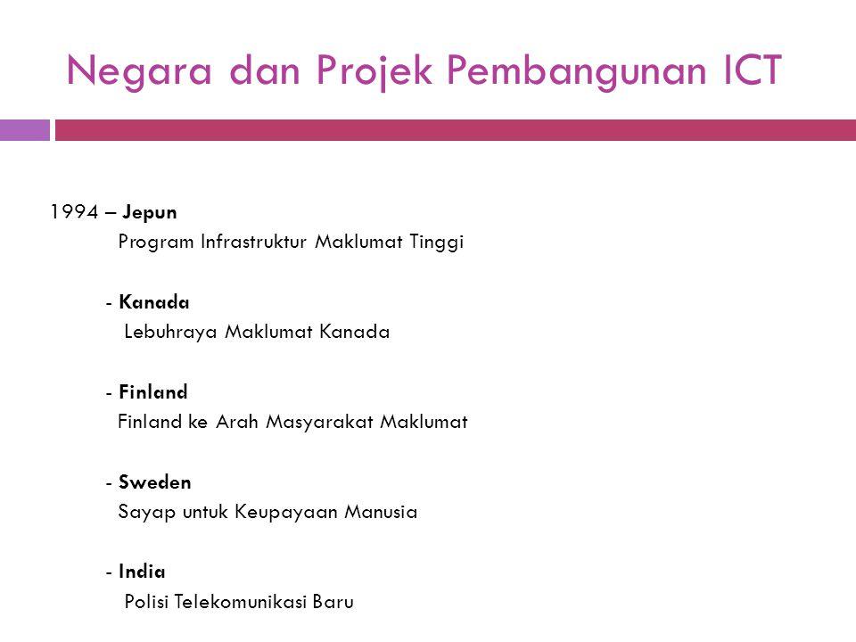 Negara dan Projek Pembangunan ICT 1994 – Jepun Program Infrastruktur Maklumat Tinggi - Kanada Lebuhraya Maklumat Kanada - Finland Finland ke Arah Masy
