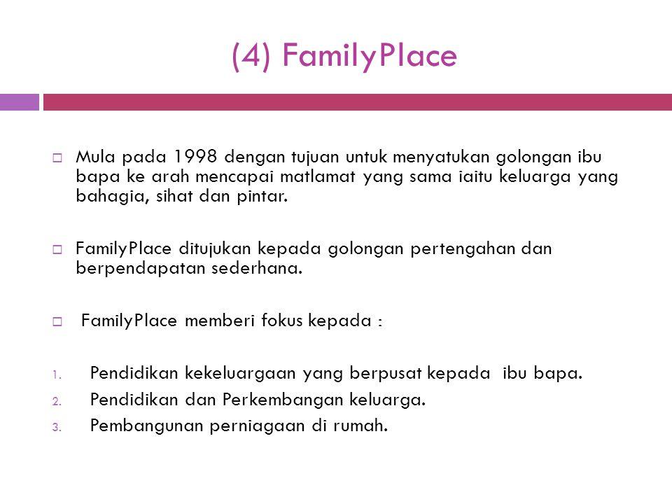 (4) FamilyPlace  Mula pada 1998 dengan tujuan untuk menyatukan golongan ibu bapa ke arah mencapai matlamat yang sama iaitu keluarga yang bahagia, sih