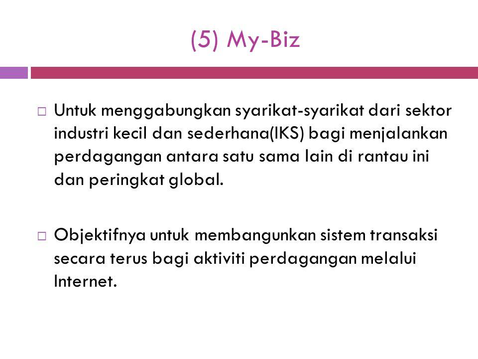 (5) My-Biz  Untuk menggabungkan syarikat-syarikat dari sektor industri kecil dan sederhana(IKS) bagi menjalankan perdagangan antara satu sama lain di