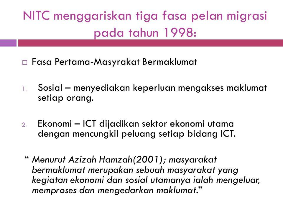 NITC menggariskan tiga fasa pelan migrasi pada tahun 1998:  Fasa Pertama-Masyrakat Bermaklumat 1. Sosial – menyediakan keperluan mengakses maklumat s