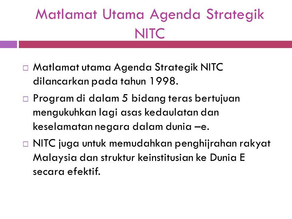 Matlamat Utama Agenda Strategik NITC  Matlamat utama Agenda Strategik NITC dilancarkan pada tahun 1998.  Program di dalam 5 bidang teras bertujuan m