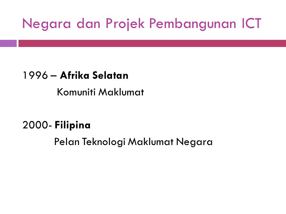 Rancangan Malaysia ke 9 (2006-2010) a) Menjana Sumber Kekayaan Baru Melalui ICT - Kerajaan akan memanfaatkan potensinya dengan terus menggalakkan pertumbuhan industri perkongsian perkhidmatan dan penyumberan luar.