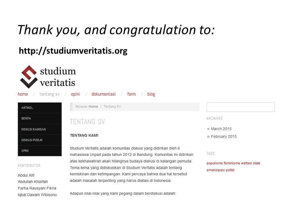 http://studiumveritatis.org Thank you, and congratulation to: